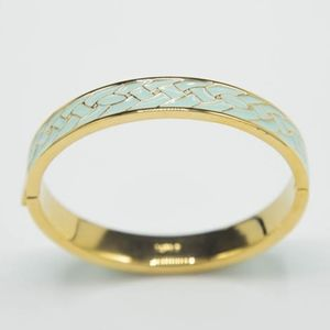 Preppy Blue Enamel Gold Tone Bracelet Bangle